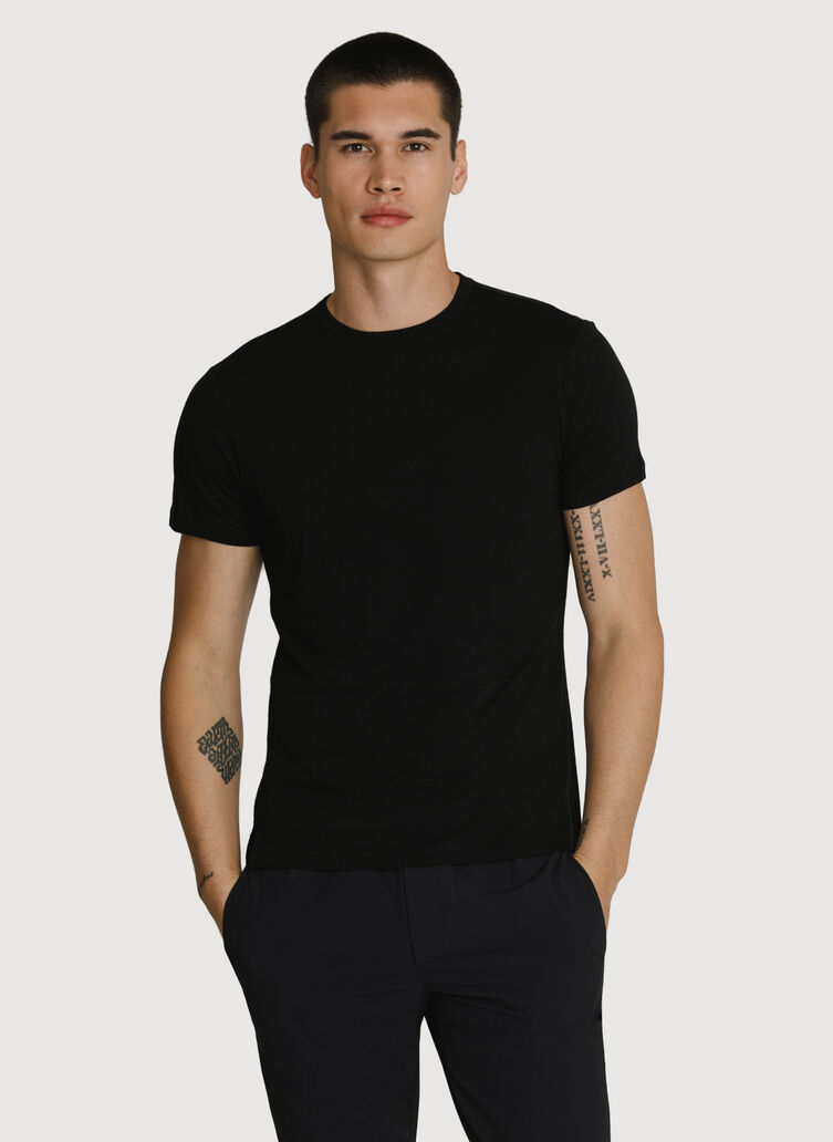 Washable Merino Short Sleeve Crew, BLACK | Kit and Ace