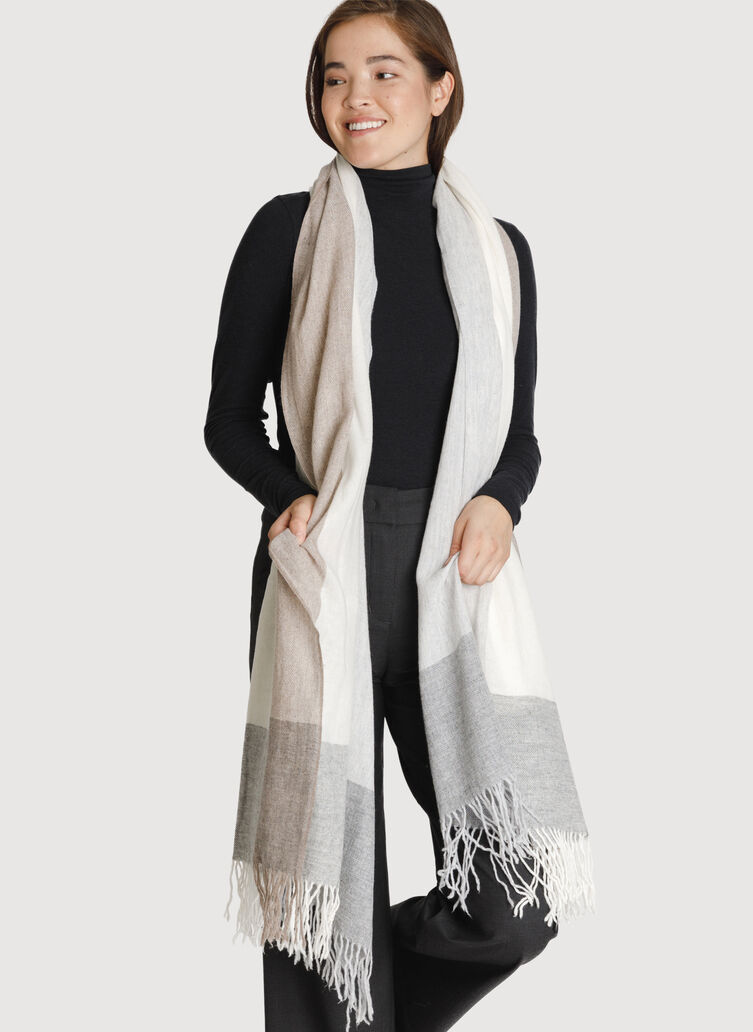 Border On Softness Scarf, WHITE MULTI | Kit and Ace