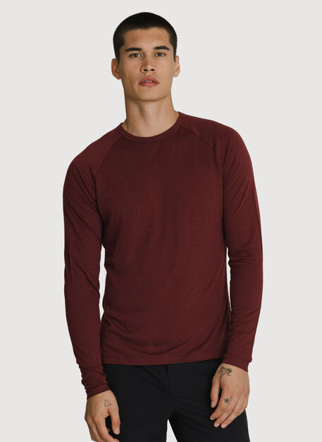 Washable Merino Long Sleeve Crew, Merlot | Kit and Ace