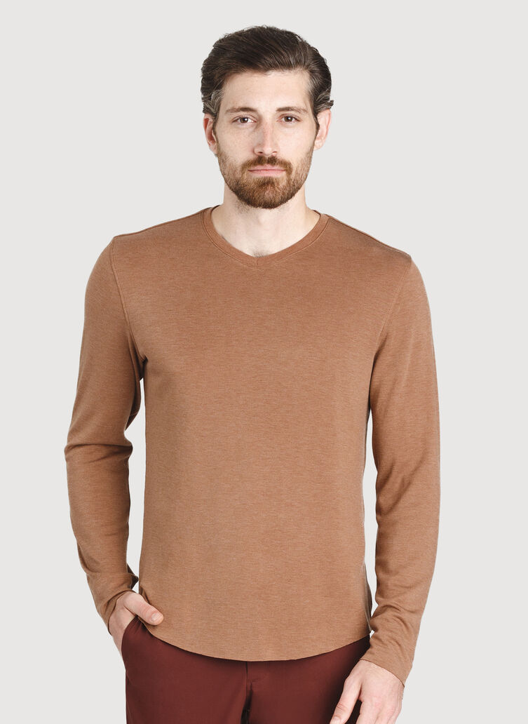 The B.F.T. Long Sleeve V-Neck Tee, Heather Toffee | Kit and Ace