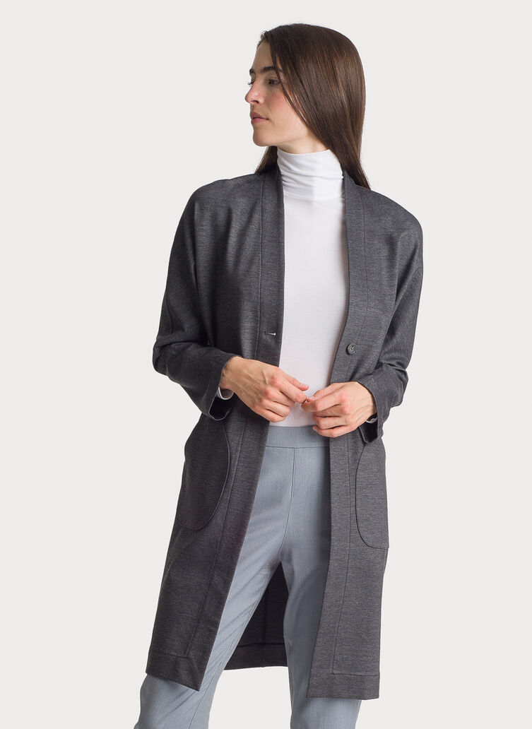 Long Stretch Jacket, Charcoal Melange | Kit and Ace