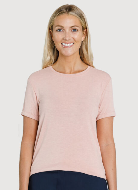 Kit Tech Jersey Crew Tee Relaxed Fit, HTHR DK Rosebud | Kit and Ace