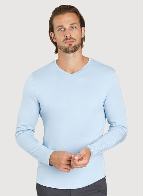 The B.F.T. Long Sleeve V-Neck, HTHR Celestial Blue | Kit and Ace