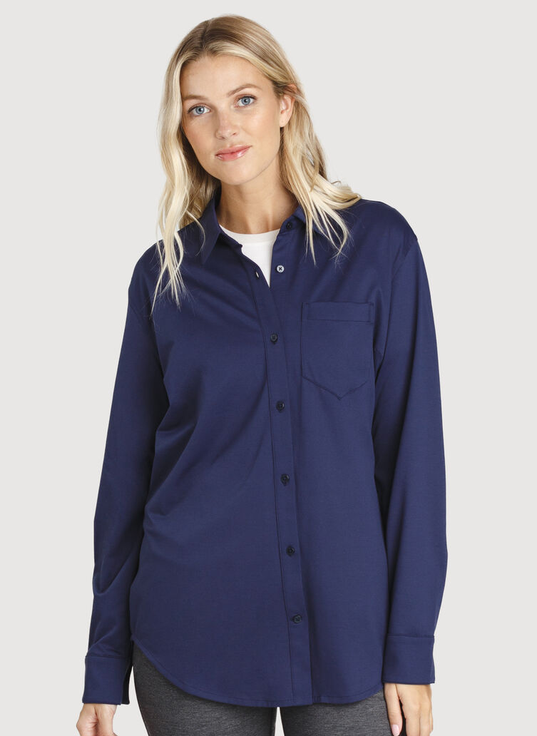 O.T.M. Boyfriend Button Up Shirt, Deep Navy | Kit and Ace