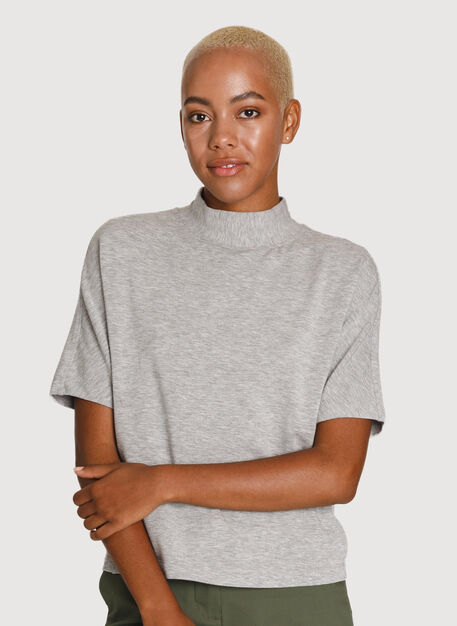 Uniform Brushed Mock Neck Tee, HTHR Charcoal Grey | Kit and Ace