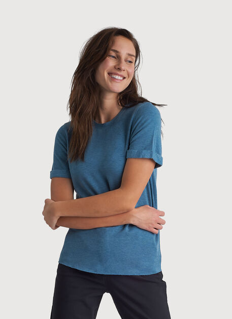 Kit Brushed Crew Tee, HTHR Pacific Blue | Kit and Ace