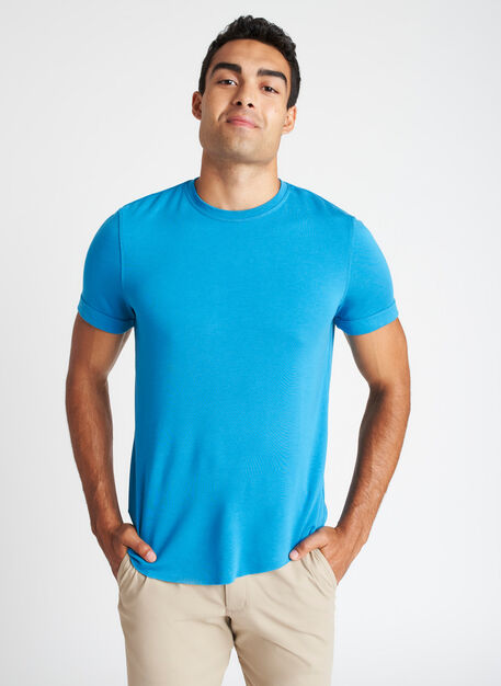 Brushed Crewneck Tee, Bright Blue | Kit and Ace