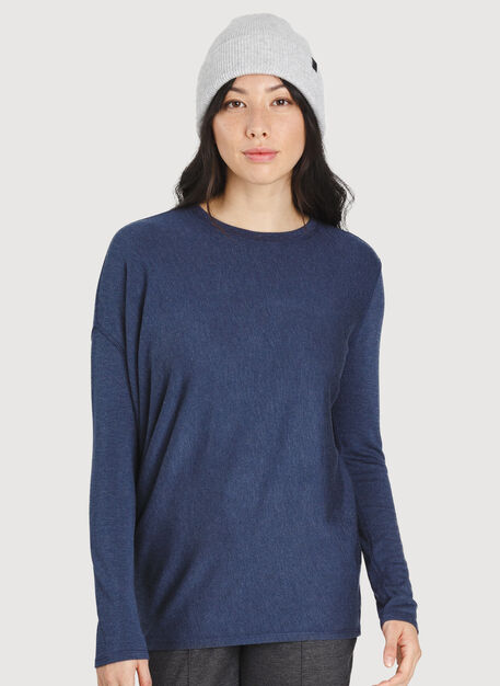 Wave Long Sleeve Tee, Heather Dark Navy | Kit and Ace