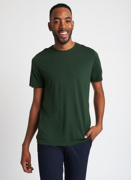 Merino Jersey Short Sleeve Crewneck Tee, Forest | Kit and Ace