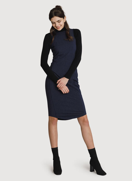 Mock Neck Pima Long Dress, HTHR Deep Navy | Kit and Ace