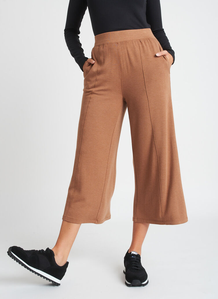 Brushed Lounge Cropped Pants, Heather Toffee | Kit and Ace
