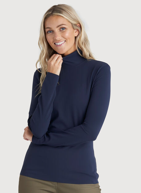 The Base Long Sleeve Turtleneck, DK Navy | Kit and Ace