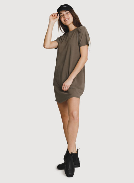 Crew T-Shirt Dress, Flint | Kit and Ace