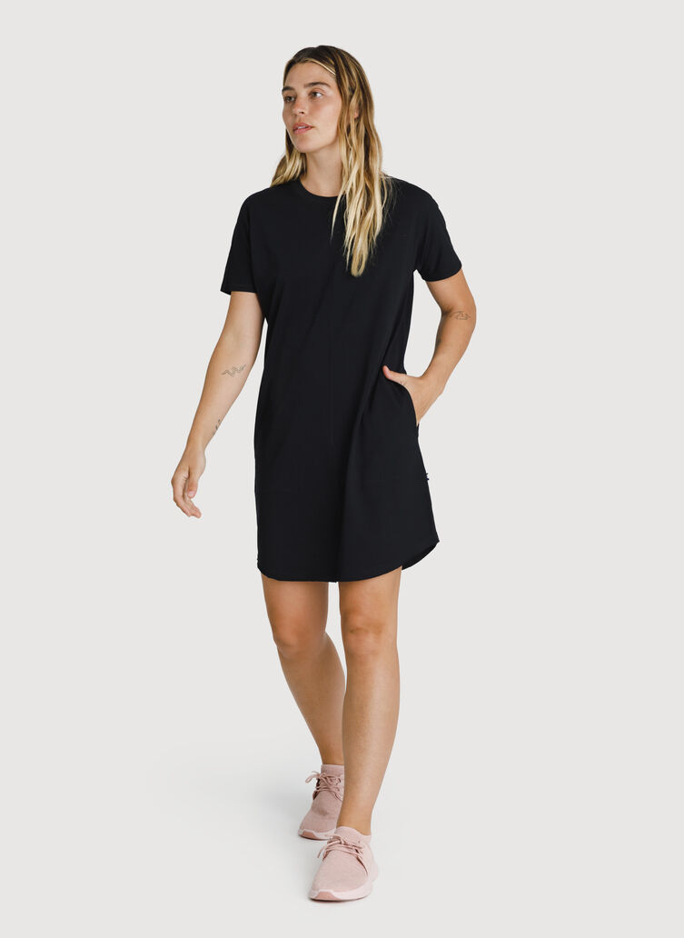 Kit Pima Tee Shirt Dress, BLACK | Kit and Ace