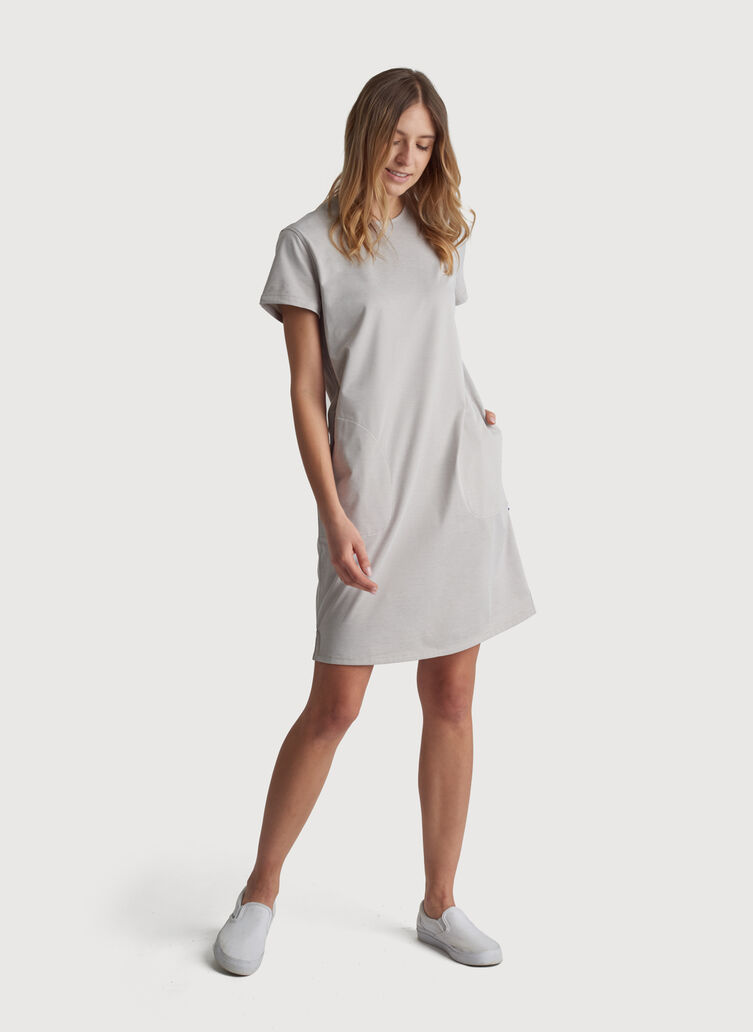 O.T.M. Short Sleeve Crew Dress, Oat Chambray   Kit and Ace