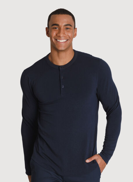 Brushed Henley Long Sleeve, DK Navy | Kit and Ace