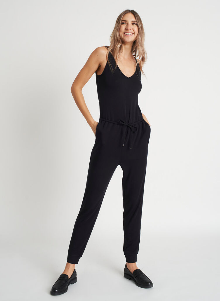 Good Feels Brushed Jumpsuit, Black | Kit and Ace