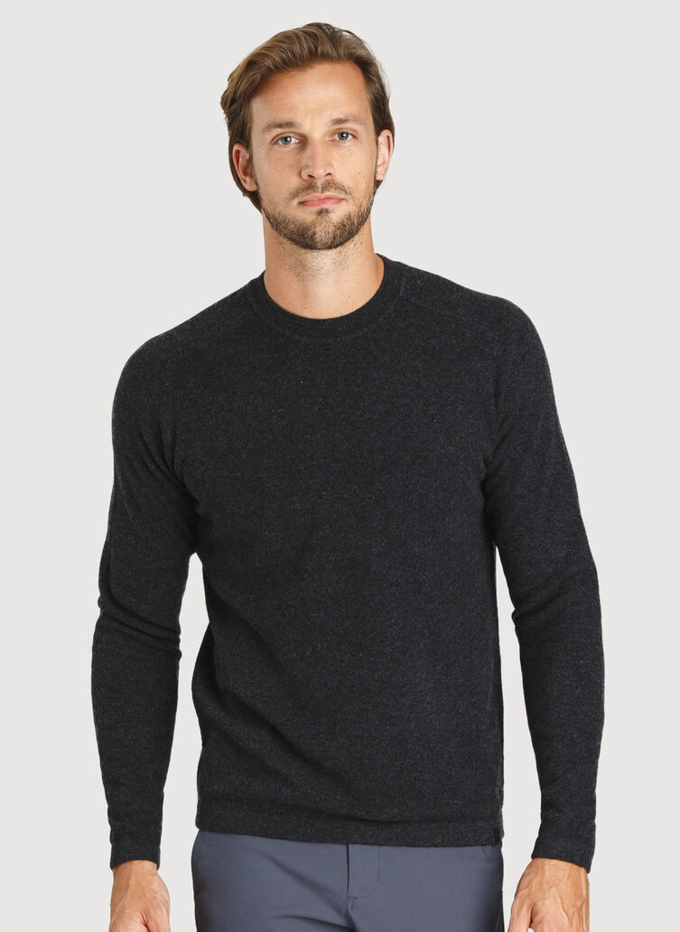 Cashmere Crew Sweater, HTHR Storm | Kit and Ace