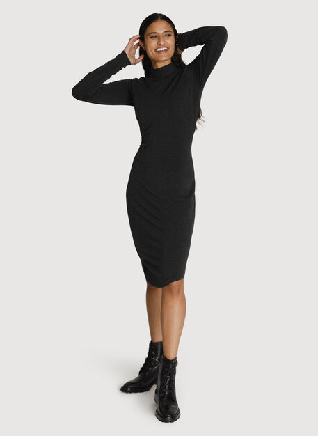 Mock Neck Brushed Dress, HTHR Charcoal | Kit and Ace