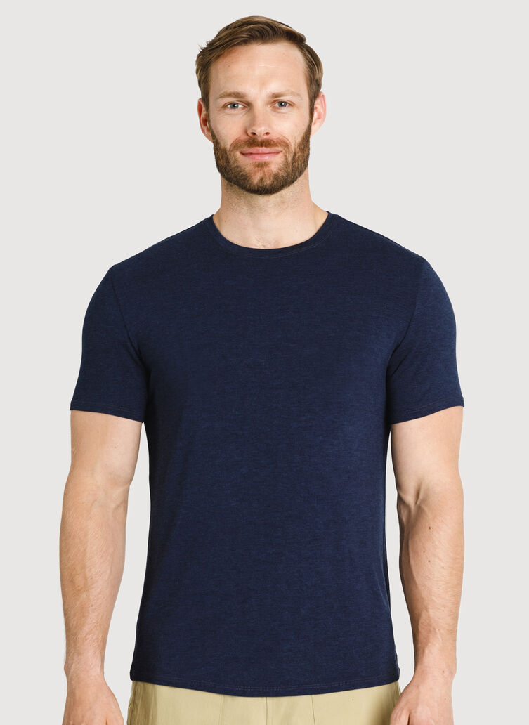Ace Tech Jersey Crew Tee Standard Fit, HTHR DK Navy | Kit and Ace