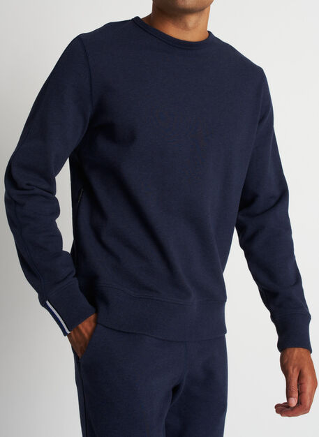 West Coast Crewneck Pullover, Heather Dark Navy | Kit and Ace