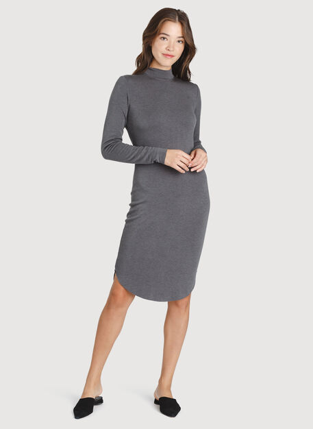Good Feels Mock Neck Dress, Heather Charcoal | Kit and Ace