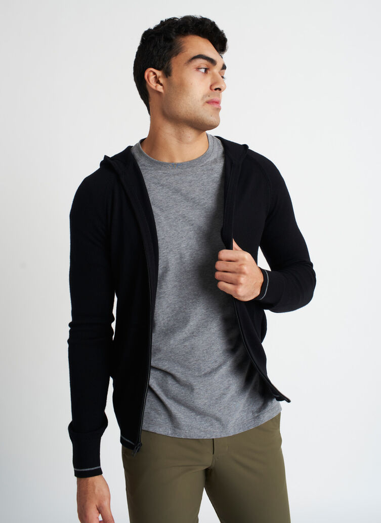 A to B Merino Hoodie, BLACK/HTHR GREY | Kit and Ace