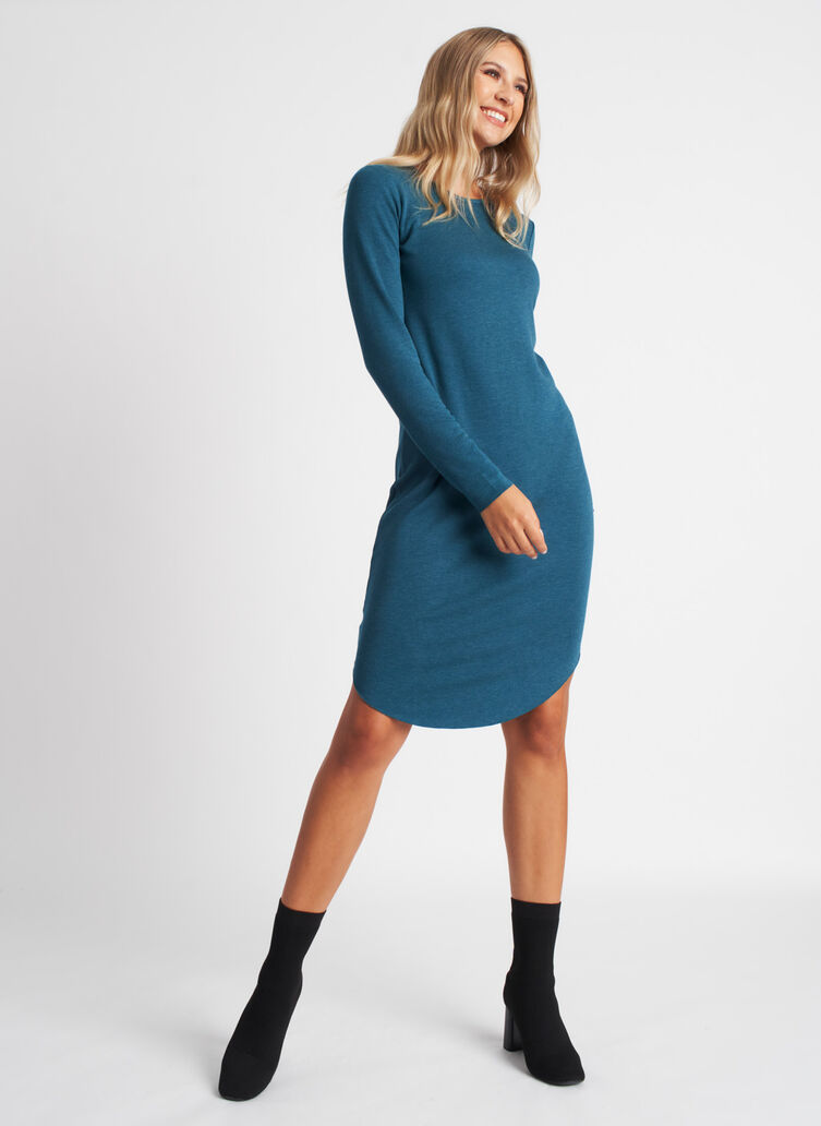 Good Feels Brushed Crewneck Dress, Heather Deep Teal | Kit and Ace