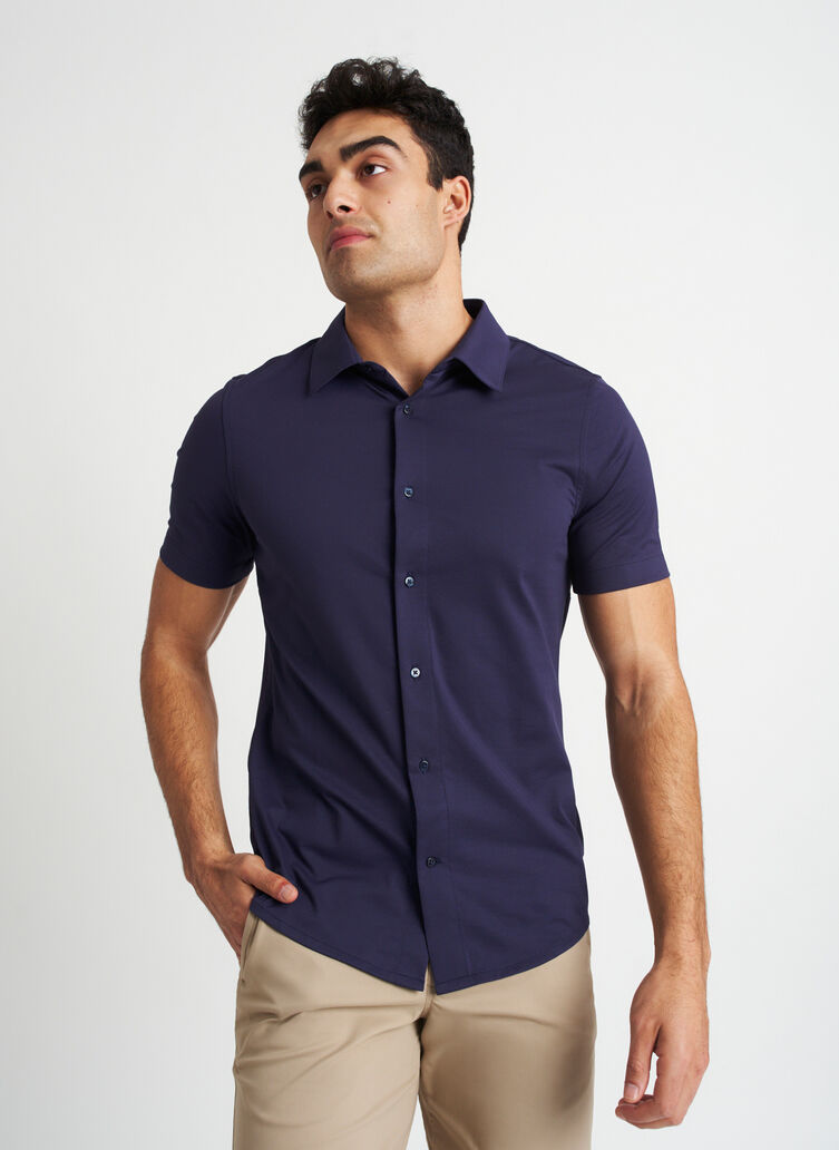 City Tech Vented Short Sleeve, Deep Navy | Kit and Ace