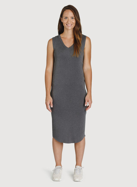 Good Feels Sleeveless Dress, HTHR Charcoal | Kit and Ace