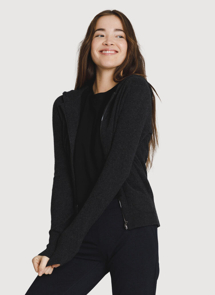 Cashmere Zip Hoodie, HTHR Storm | Kit and Ace