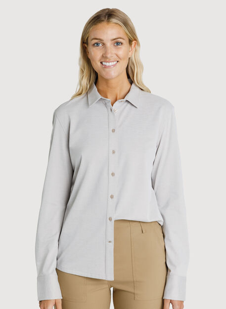 O.T.M. Long Sleeve Button Up, Oat Chambray | Kit and Ace