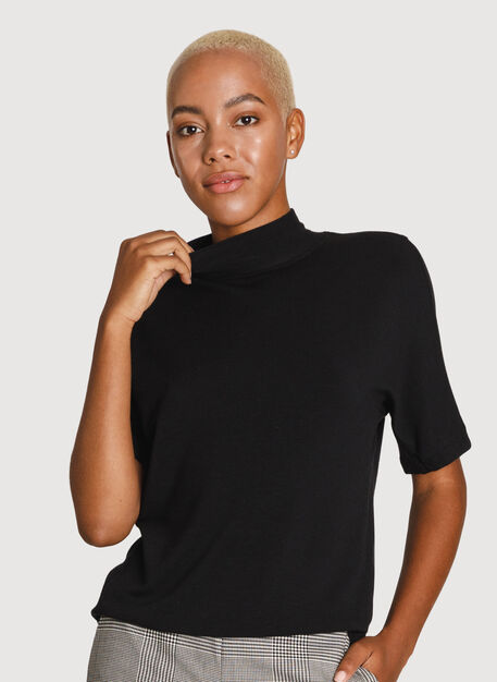 Uniform Brushed Mock Neck Tee, BLACK | Kit and Ace