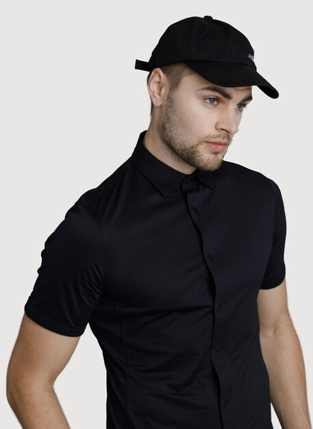 Court Stretch Button Down, BLACK | Kit and Ace