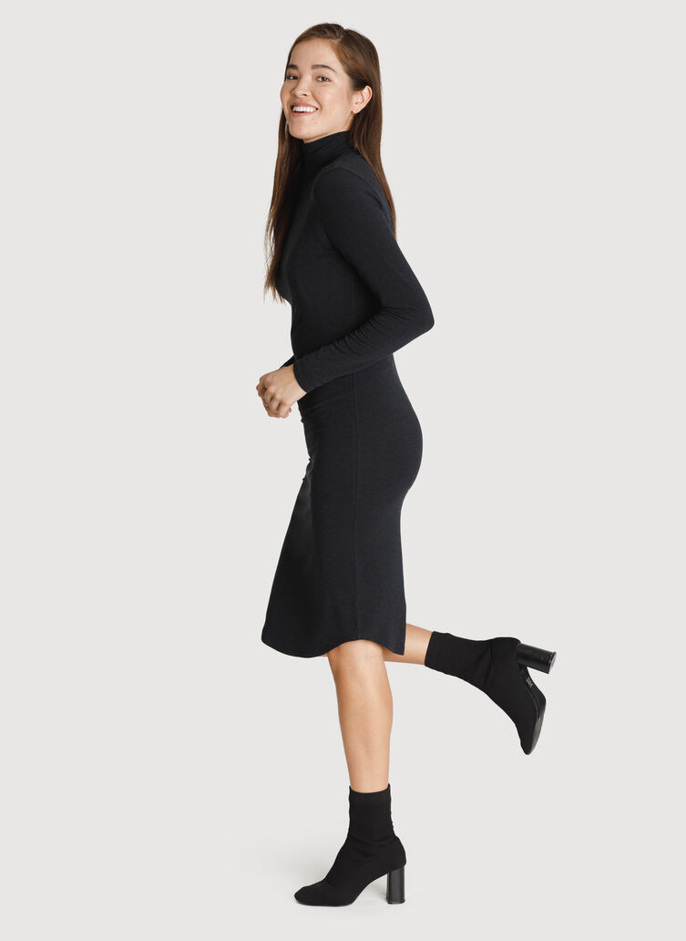 Rib Turtleneck Dress, HTHR Black | Kit and Ace