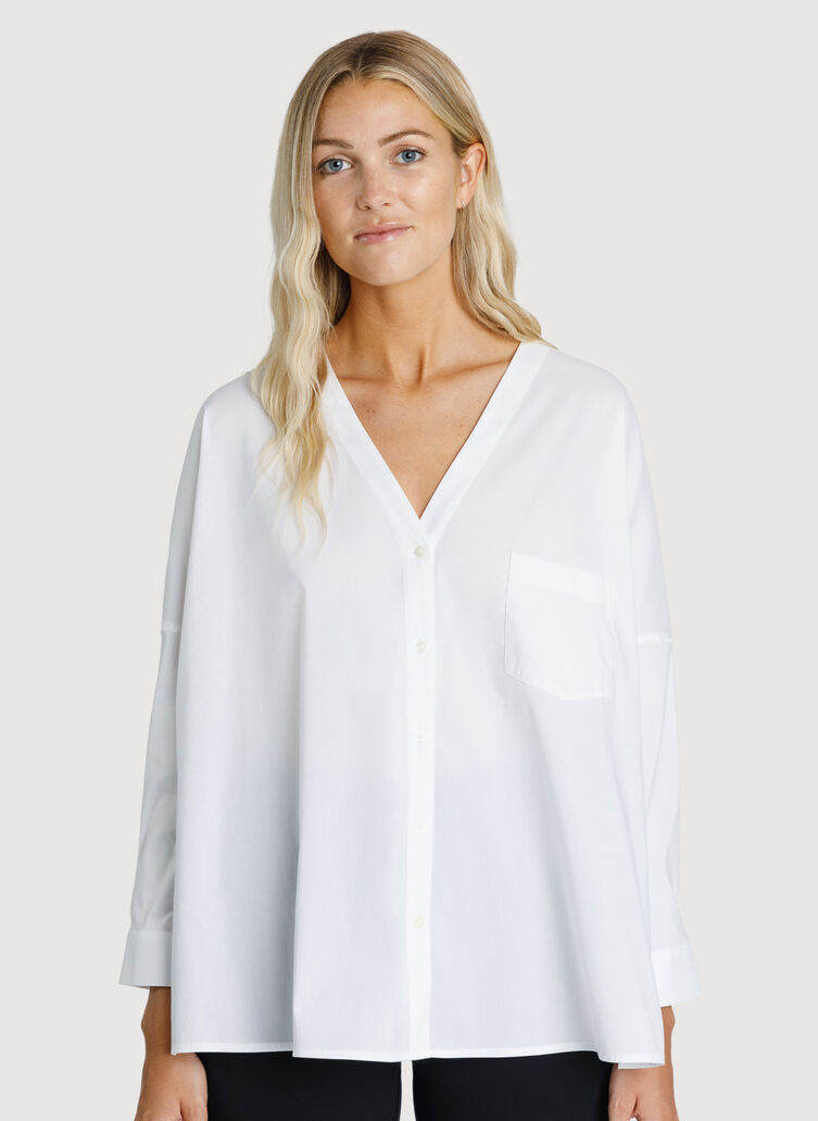 Stretch Shirting V Neck Blouse, Bright White | Kit and Ace