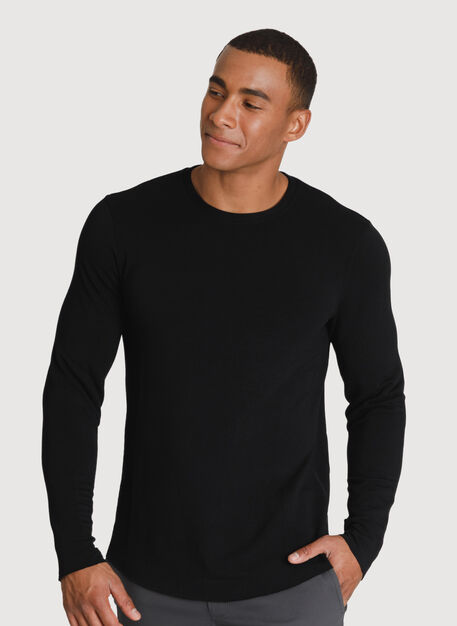 Brushed Long Sleeve Crew, BLACK | Kit and Ace