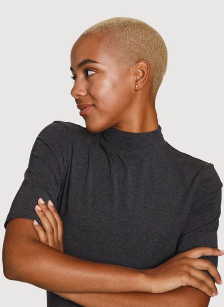Rib Mock Neck Mid Sleeve, HTHR Charcoal | Kit and Ace
