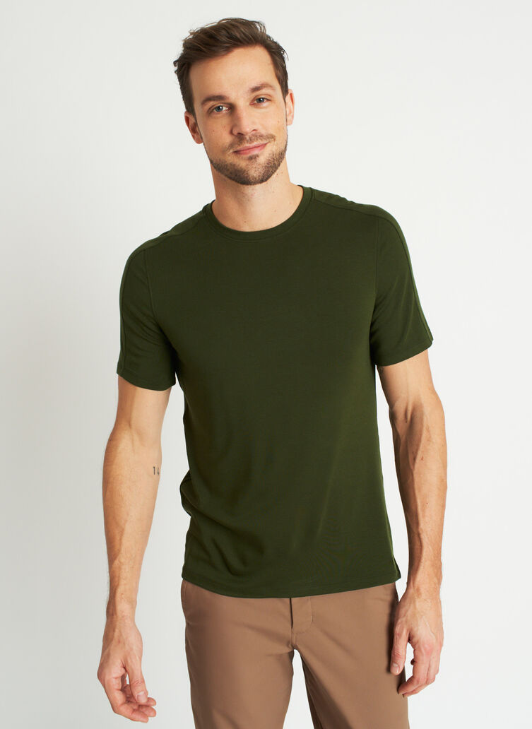 Comfy Brushed Crewneck Tee, Grove Green | Kit and Ace