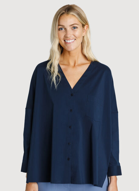 Stretch Shirting V Neck Blouse, DK Navy | Kit and Ace