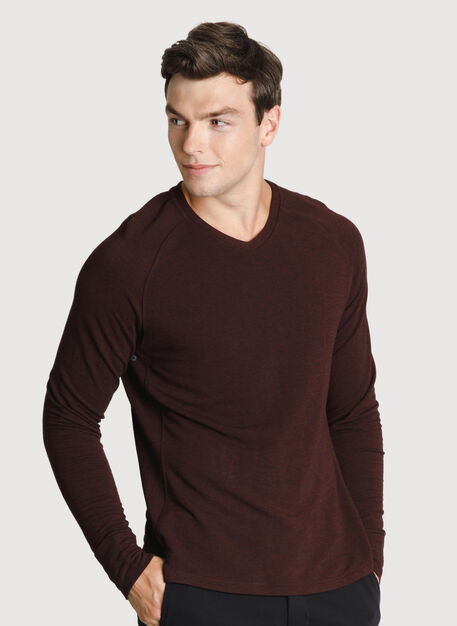 Time Out Brushed V Neck 2.0, HTHR Plum | Kit and Ace