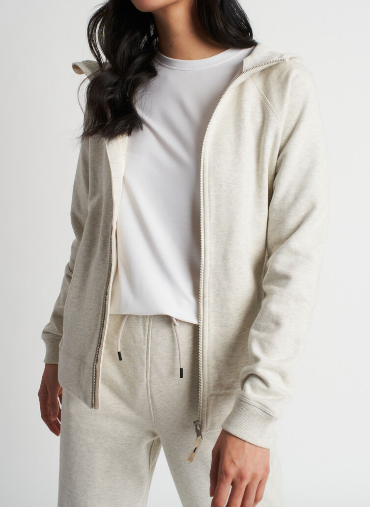 Coastal Zip Up Hoodie, Heather Birch | Kit and Ace