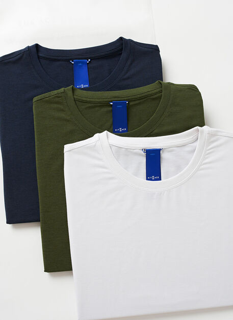Ace Crewneck Tees | 3 Pack, Dark Navy/Bright White/Grove Green | Kit and Ace