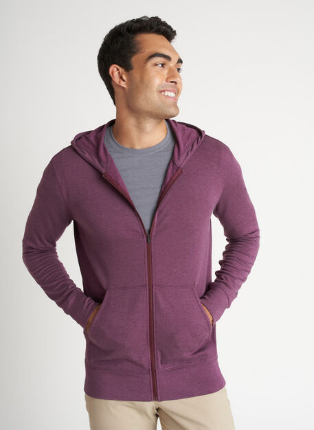 Brushed Zip Up Hoodie, Heather Plum | Kit and Ace
