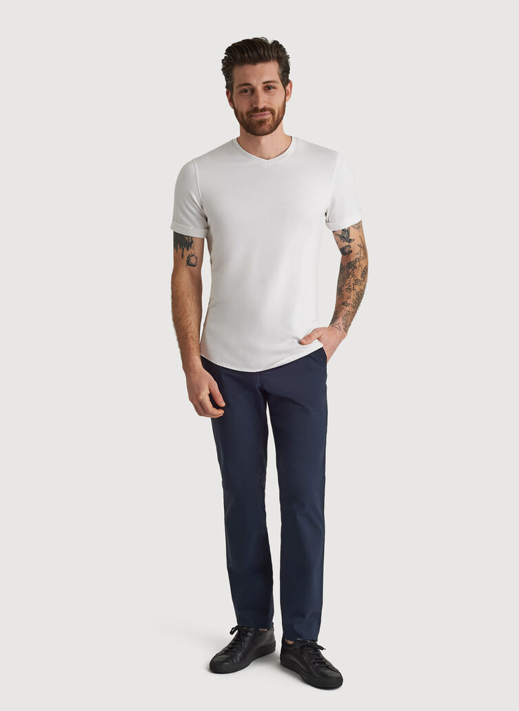 Cuffed Brushed V-Neck, Bone White | Kit and Ace
