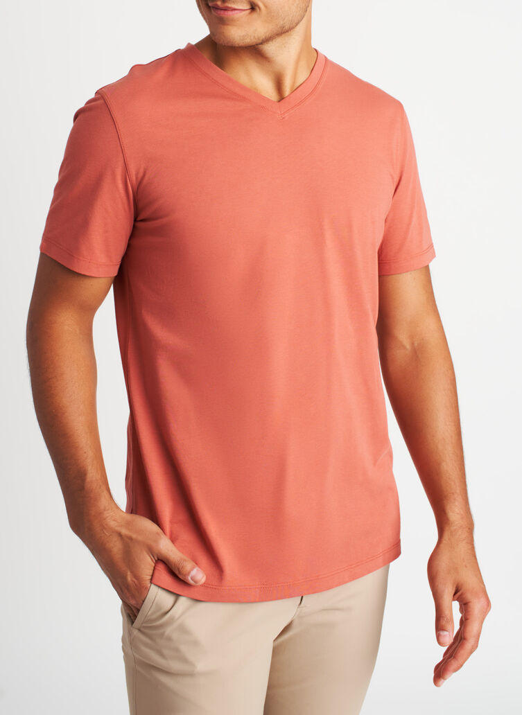 Ace Pima V-Neck Tee, Ember | Kit and Ace