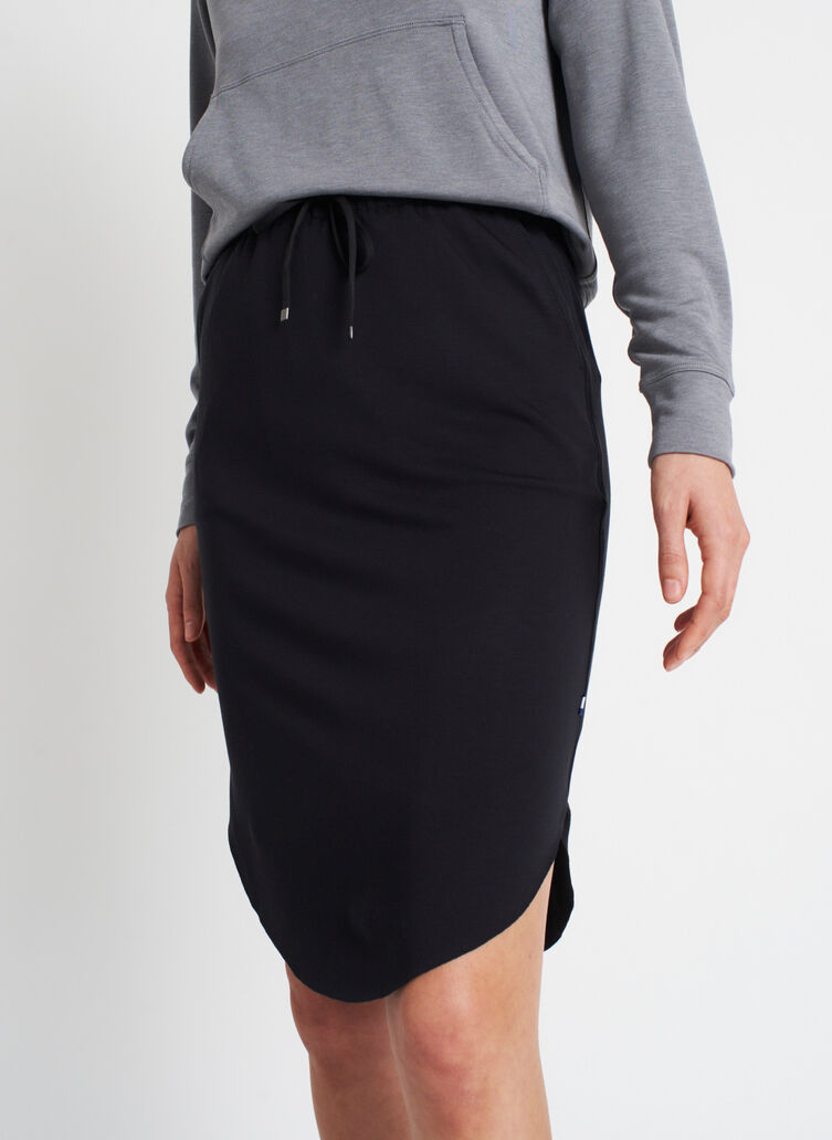 Brushed Drawstring Skirt, Black | Kit and Ace