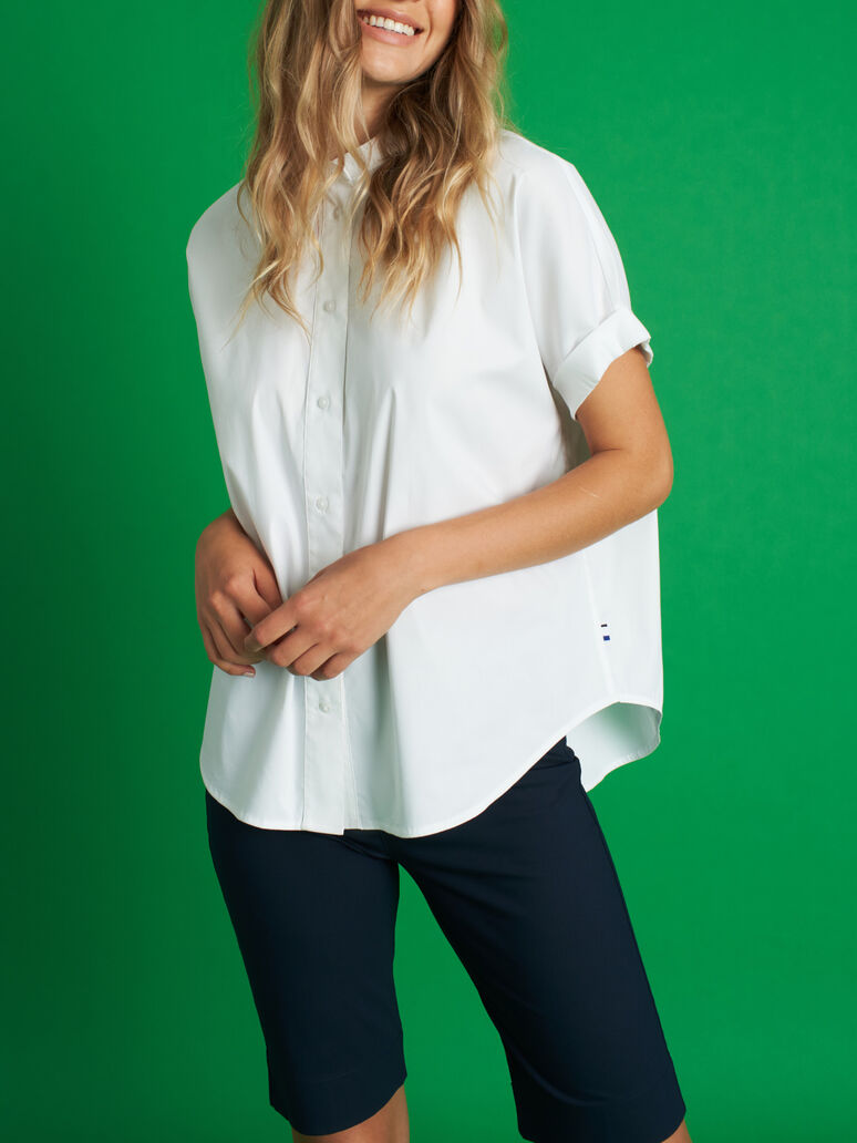 Keep It Cool Short Sleeve Blouse, Bright White | Kit and Ace