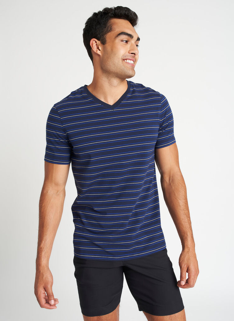 Ace Pima V-Neck Tee, Dark Navy Multi Stripe | Kit and Ace