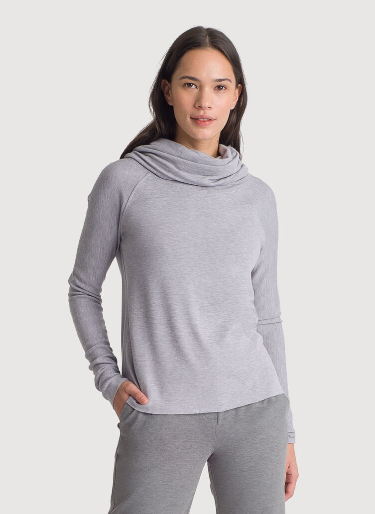 Brushed Cowl Neck Long Sleeve Tee, HTHR Dapple Grey | Kit and Ace